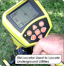 EM Locator used to locate underground utilities.