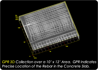 GPR 3D Collection over a 10' by 12' area. GPR indicates precise location of the rebar in the concrete slab.